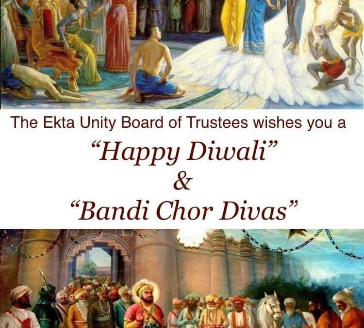 """Ekta Unity Charity's Board of Trustees wishes all our service users, session workers, volunteers and members a very Happy Diwali and Bandi Chor Divas"""