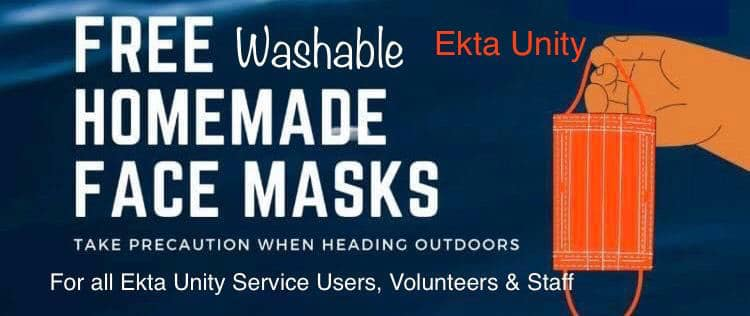 400 handmade washable face masks for all of Ekta Unity's Service Users